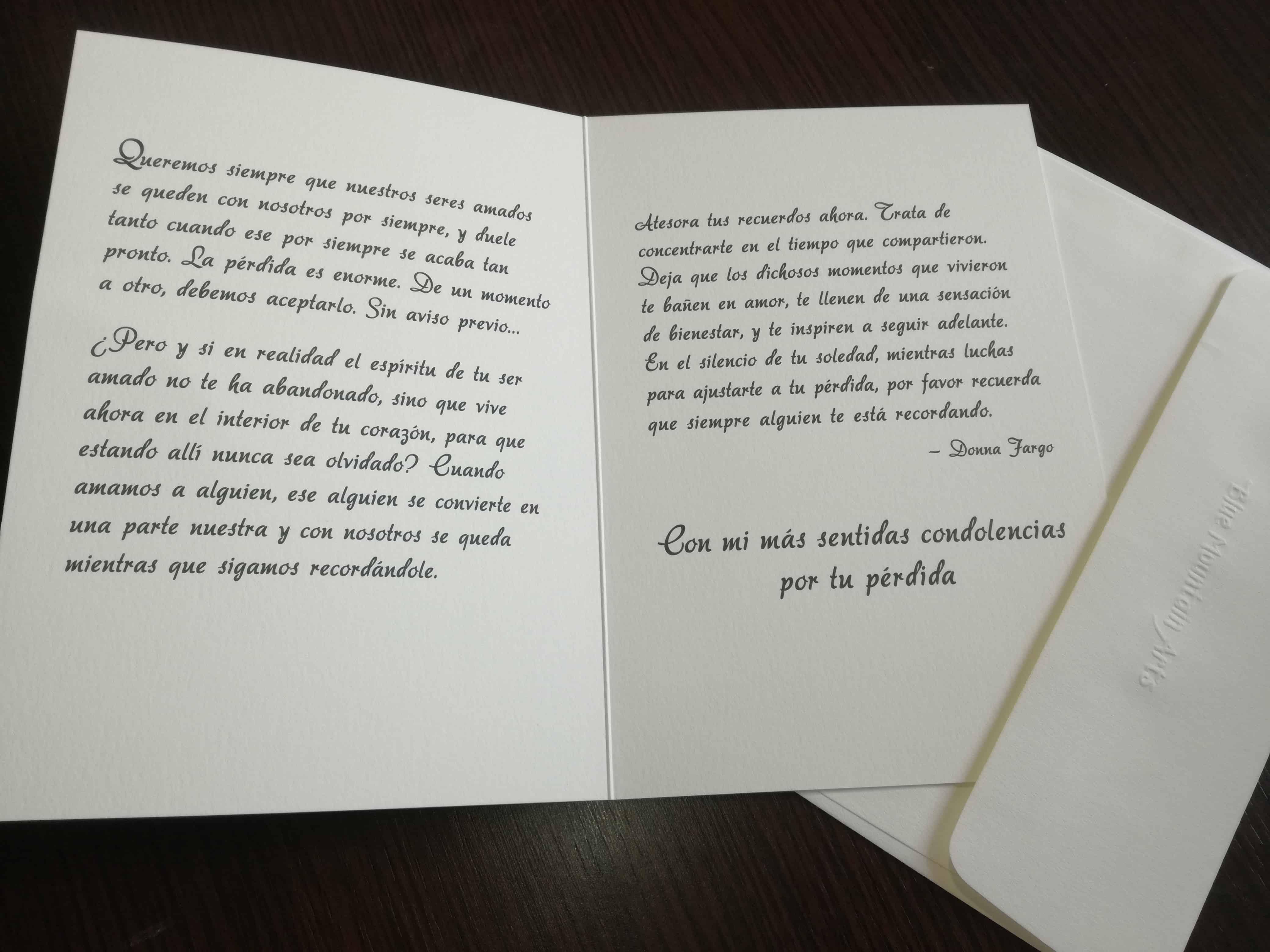 tarjeta de condolencias por la pérdida de un ser querido